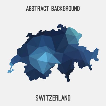 Suisse carte dans polygonale géométrique, mosaïque style.Abstract tessellation, design moderne fond. Banque d'images - 66769639