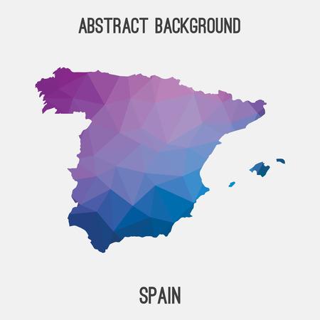 Spanien Karte in geometrischen polygonal, Mosaik style.Abstract Tessellation, modernes Design Hintergrund.