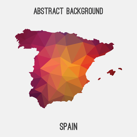 Spain map in geometric polygonal, mosaic style.Abstract tessellation, modern design background.  イラスト・ベクター素材