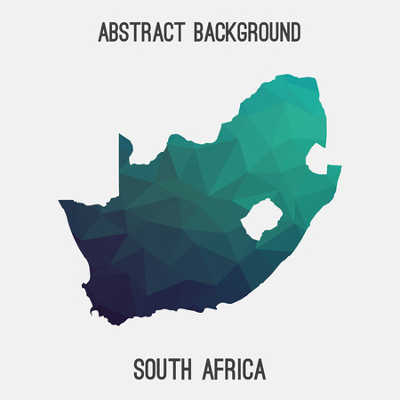 South Africa map in geometric polygonal, mosaic style.Abstract tessellation, modern design background