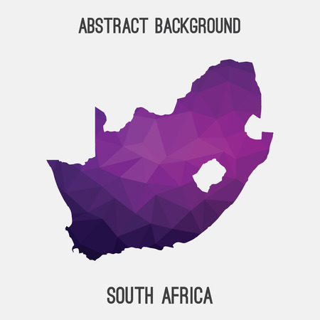 South Africa map in geometric polygonal, mosaic style.Abstract tessellation, modern design background.