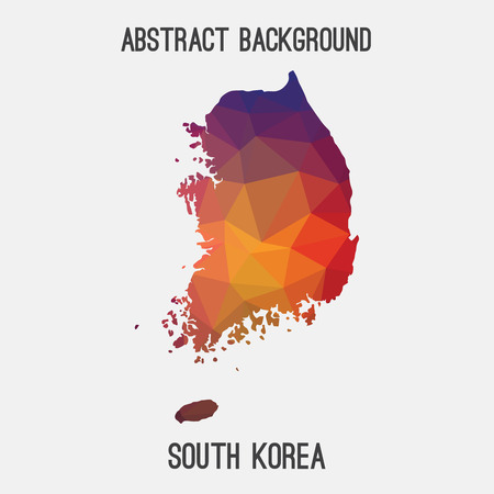 South Korea map in geometric polygonal style.Abstract tessellation, modern design background.