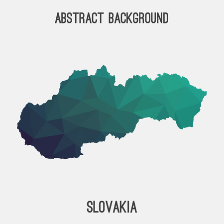 Slovakia map in geometric polygonal, mosaic style.Abstract tessellation, modern design background.