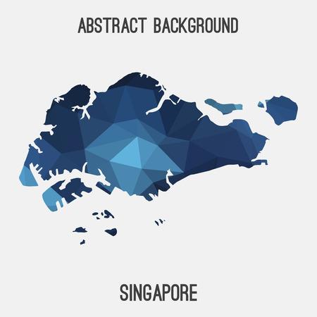 singaporean flag: Singapore map in geometric polygonal style.Abstract tessellation, modern design background.