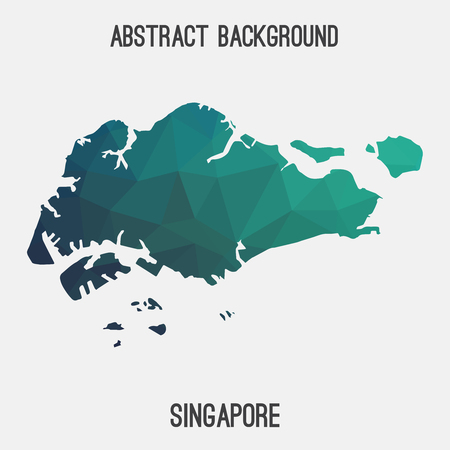 Singapore map in geometric polygonal style.Abstract tessellation, modern design background.
