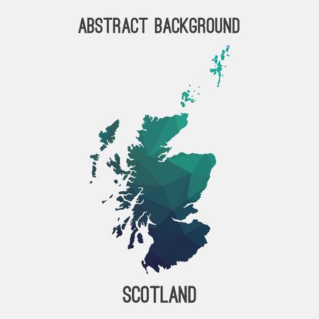 Scotland map in geometric polygonal, mosaic style.Abstract tessellation, modern design background.