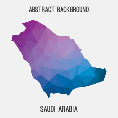 Saudi Arabia map in geometric polygonal, mosaic style.Abstract tessellation, modern design background.