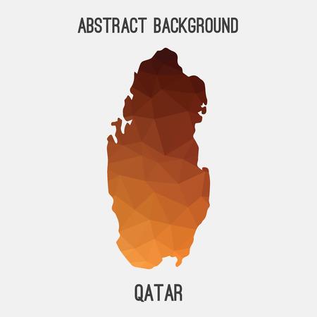 Qatar map in geometric polygonal, mosaic style.Abstract tessellation, modern design background.