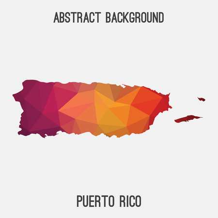 Puerto Rico map in geometric polygonal style.Abstract tessellation, modern design background.