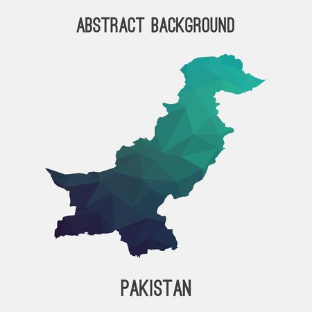 islamabad: Pakistan map in geometric polygonal style.Abstract tessellation, modern design background. Illustration