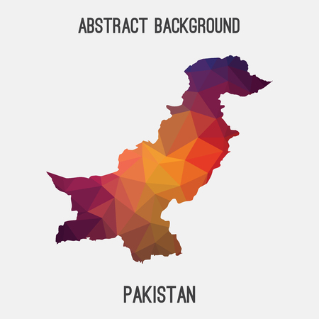 Pakistan map in geometric polygonal style.Abstract tessellation, modern design background. Illustration
