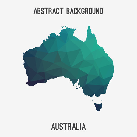 Australia map in geometric polygonal style.Abstract tessellation, modern design background. Иллюстрация