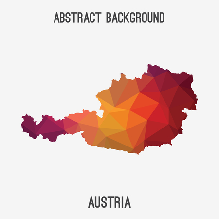 Austria map in geometric polygonal style.Abstract tessellation, modern design background. Vetores