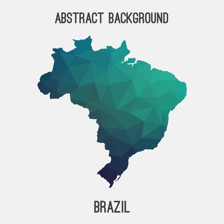 brasilia: Brazil map in geometric polygonal style.Abstract tessellation, modern design background.
