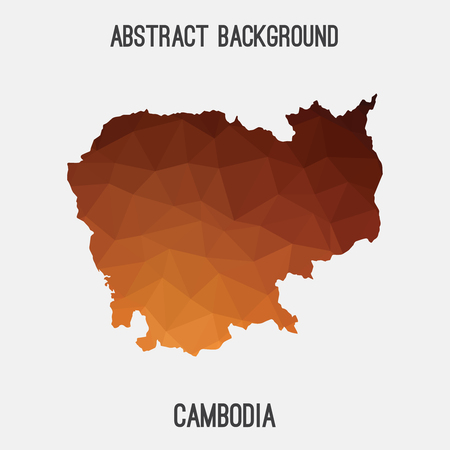 cambodian: Cambodia map in geometric polygonal style.Abstract tessellation, modern design background.