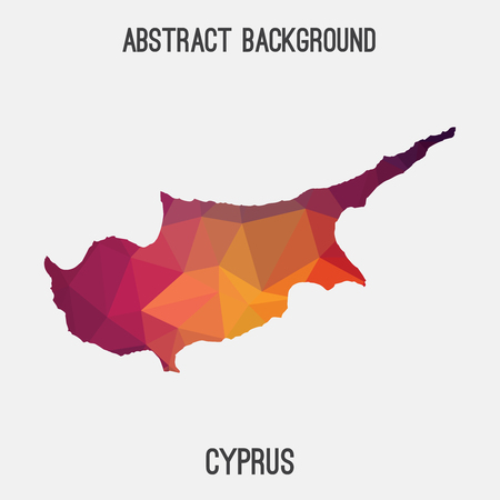 Cyprus map in geometric polygonal, mosaic style.Abstract tessellation, modern design background.