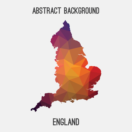 England map in geometric polygonal, mosaic style.Abstract tessellation, modern design background, low poly. illustration.