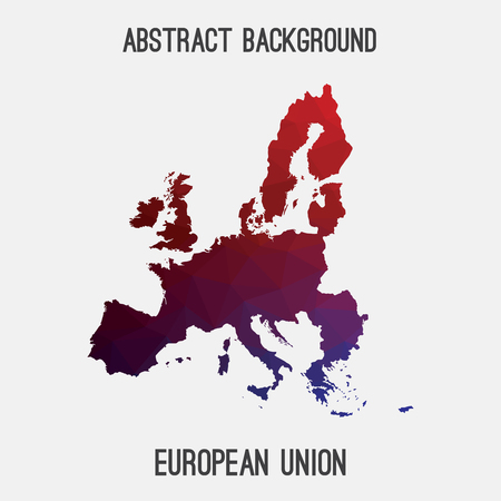 mappa dell'UE in poligonale geometrica, mosaico tassellatura style.Abstract, sfondo moderno disegno dell'Unione europea,. Illustrazione vettoriale EPS8