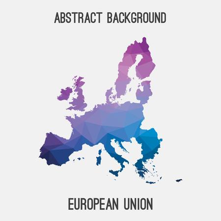 mappa dell'UE in poligonale geometrica, mosaico tassellatura style.Abstract, sfondo moderno disegno dell'Unione europea,.