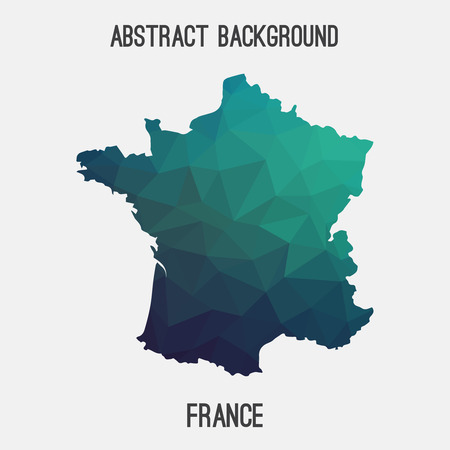 France map in geometric polygonal, mosaic style.Abstract tessellation, modern design background.