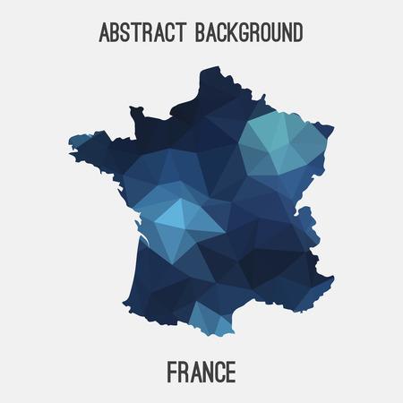 Frankreich-Karte in geometrischen polygonal, Mosaik style.Abstract Tessellation, modernes Design Hintergrund. Standard-Bild - 66766033