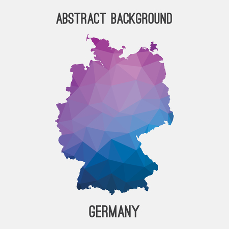 stuttgart: Germany, Deutschland map in geometric polygonal style.Abstract tessellation, modern design background. Illustration