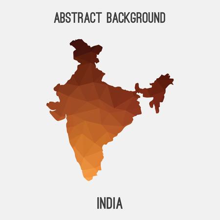 Carte de l'Inde dans le style polygonal géométrique. Mosaïque abstraite, arrière-plan de conception moderne.
