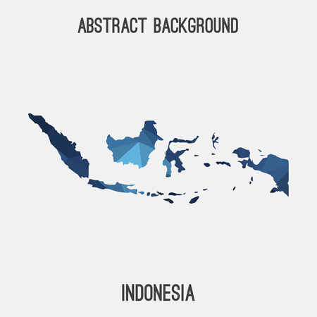 national flag indonesian flag: Indonesia map in geometric polygonal style.Abstract tessellation, modern design background. Illustration