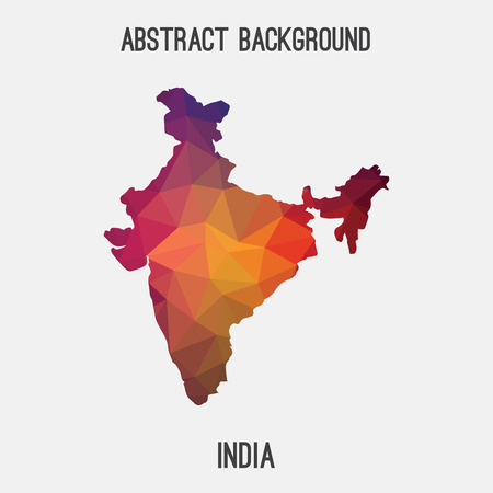 India map in geometric polygonal style.Abstract tessellation, modern design background.