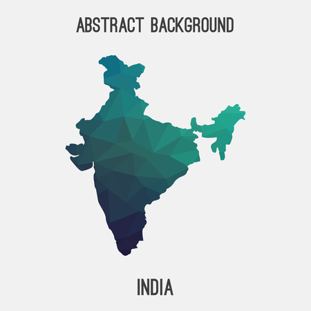 India map in geometric polygonal style.Abstract tessellation, modern design background. Vector illustration EPS8