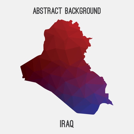 Iraq map in geometric polygonal, mosaic style.Abstract tessellation, modern design background, low poly. illustration.