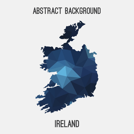 belfast: Ireland map in geometric polygonal, mosaic style.Abstract tessellation, modern design background, low poly. illustration.