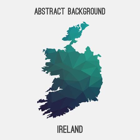 irish map: Ireland map in geometric polygonal, mosaic style.Abstract tessellation, modern design background, low poly. illustration.