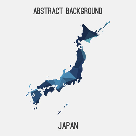 Japan map in geometric polygonal style.Abstract tessellation, modern design background. Illustration