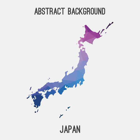 Japan map in geometric polygonal style.Abstract tessellation, modern design background Illustration