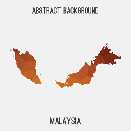Malaysia map in geometric polygonal style.Abstract tessellation, modern design background. Illustration