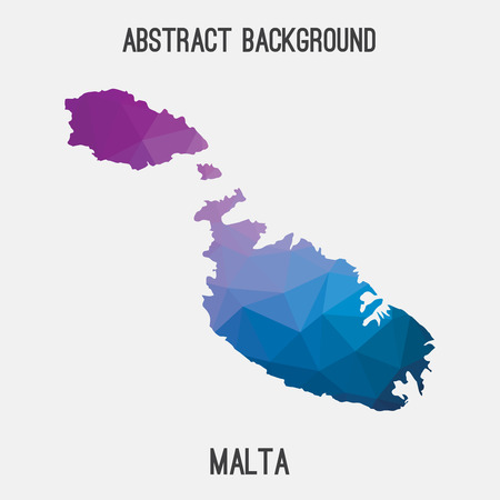 Malta map in geometric polygonal, mosaic style.Abstract tessellation, modern design background, low poly. illustration.