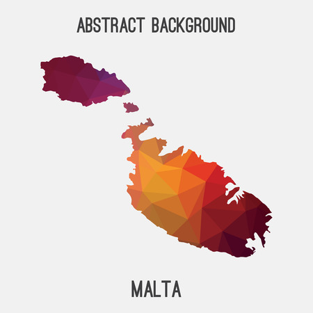 maltese map: Malta map in geometric polygonal, mosaic style.Abstract tessellation, modern design background, low poly. illustration.