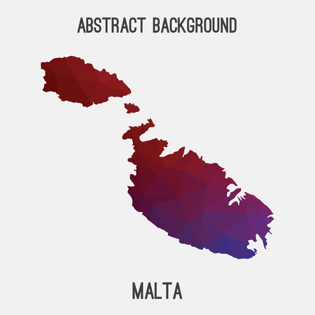 malta map: Malta map in geometric polygonal, mosaic style.Abstract tessellation, modern design background, low poly. illustration.