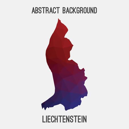 liechtenstein: Liechtenstein map in geometric polygonal, mosaic style.Abstract tessellation, modern design background, low poly. illustration. Illustration