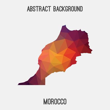 Mapa de Marruecos en poligonal geométrica, teselación style.Abstract mosaico, fondo de diseño moderno, poli baja. Ilustración del vector.