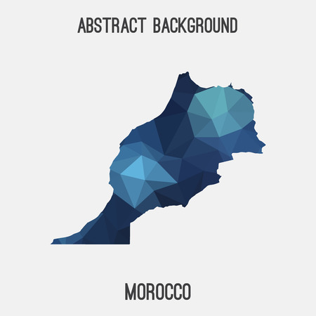 berber: Morocco map in geometric polygonal, mosaic style.Abstract tessellation, modern design background, low poly. Vector illustration. Illustration