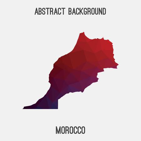 Mapa de Marruecos en poligonal geométrica, teselación style.Abstract mosaico, fondo de diseño moderno, poli baja. Ilustración del vector. Ilustración de vector