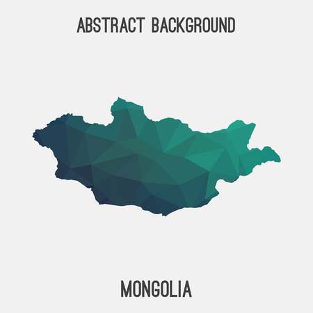 mongolia: Mongolia map in geometric polygonal style. Abstract tessellation, modern design background. Vector illustration