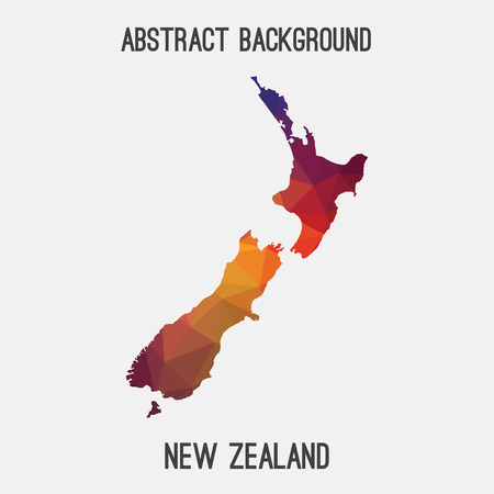 New Zealand map in geometric polygonal style. Abstract tessellation, modern design background. Vector illustration