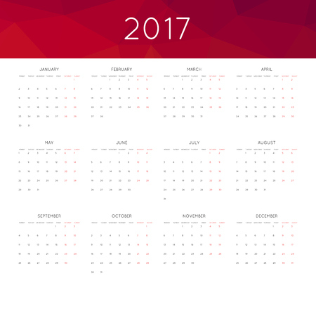 thursday: Calendar 2017 year simple style. With abstract geometric triangle mosaic tessellation header, banner. Week starts from sunday.