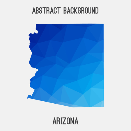 Arizona map in geometric polygonal, mosaic style.Abstract tessellation, modern design background. Illustration