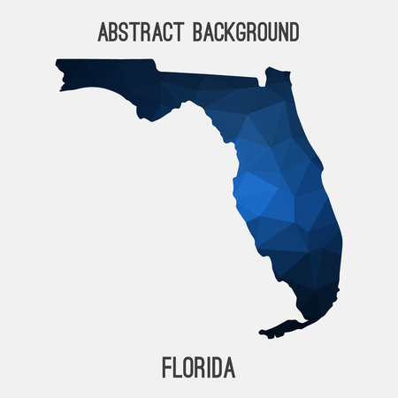 Florida map in geometric polygonal, mosaic style.Abstract tessellation, modern design background. Ilustração