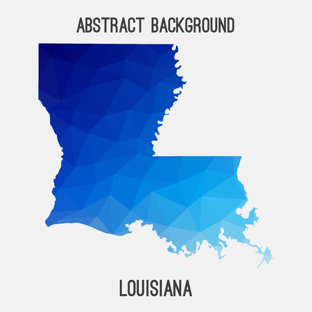 new orleans: Louisiana map in geometric polygonal, mosaic style.Abstract tessellation, modern design background.