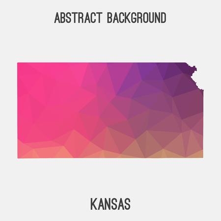 Kansas map in geometric polygonal, mosaic style.Abstract tessellation, modern design background.